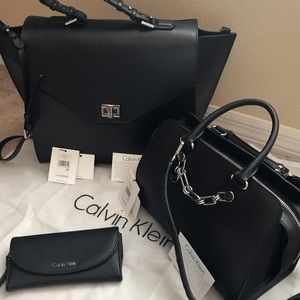 Calvin Klein Black Leather Bags Set of 3